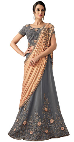 Taffeta Silk Grey Embroidered Lehenga Style Saree