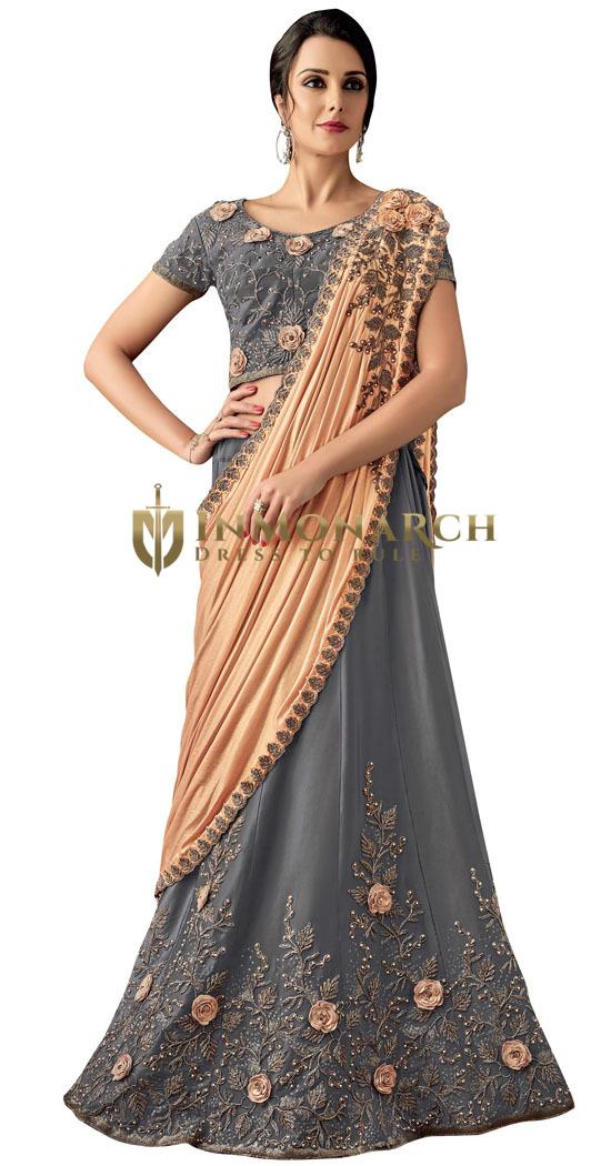 Taffeta Silk Grey Embroidered Lehenga Style Saree