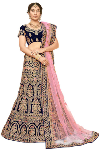 Blue Embroidered Bridal Lehenga Choli