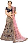 Blue Embroidered Bridal Lehenga Choli