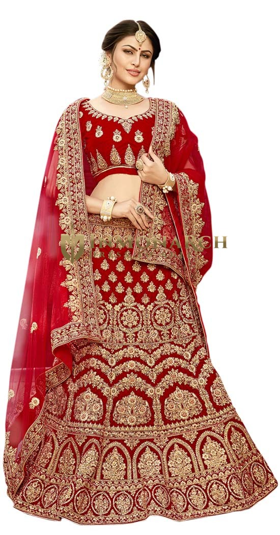 Wedding Maroon Embroidered Lehenga Choli