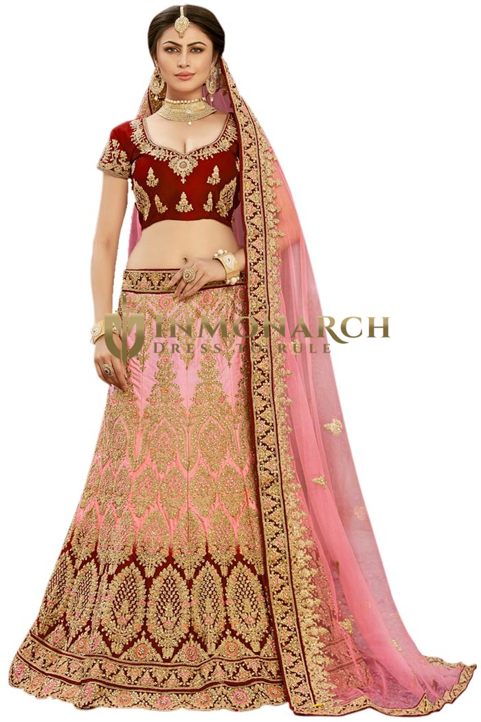 Pink Bridal Silk Lehenga Choli