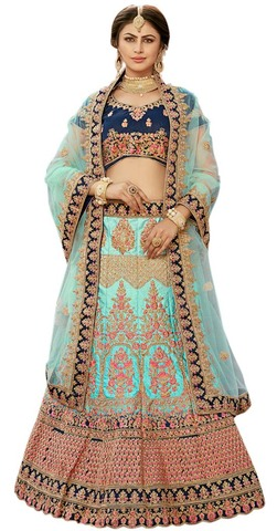 Party Wear Sky Blue Embroidered Lehenga Choli
