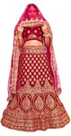 Velvet Maroon Heavy Embroidery Work Bridal Lehenga