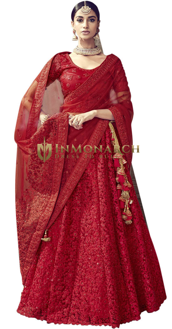 Bridal Embroidered Digital Net Red Lehenga