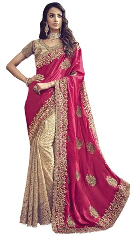 Golden and Pink Embroidered Bridal Saree