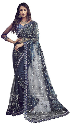 Digital Net Navy Blue Bridal Saree