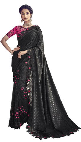 Black Embroidered Wedding Saree