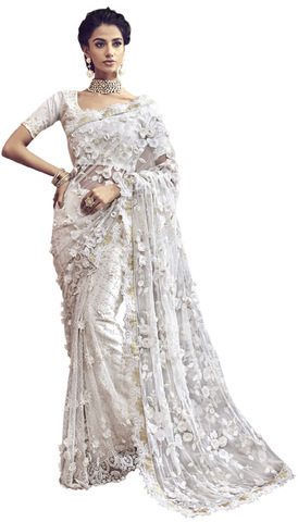 Designer White Bridal Wedding Saree