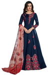 Navy Blue Floor length embroidered Salwar Kameez