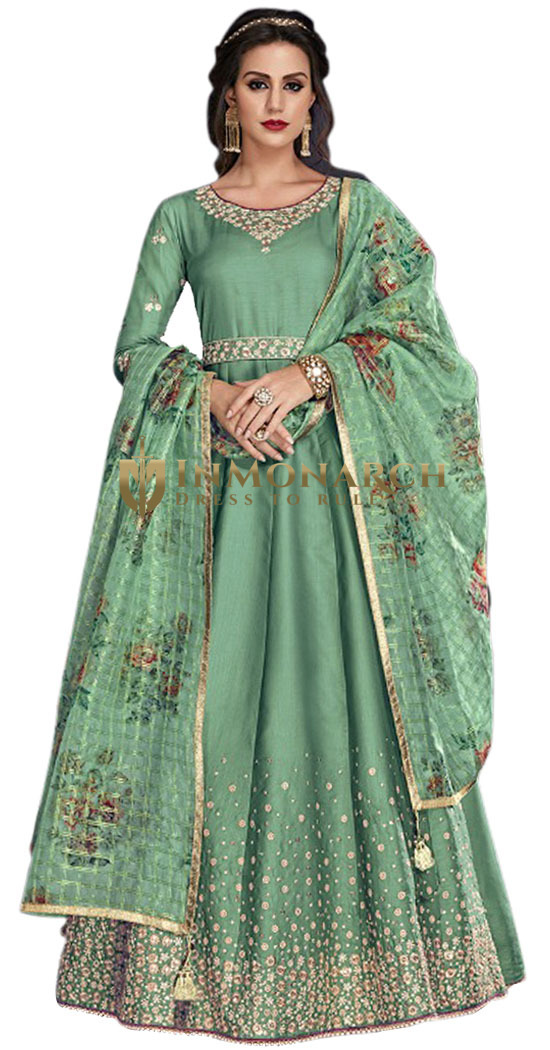 Green Embroidered Party Wear Salwar Kameez