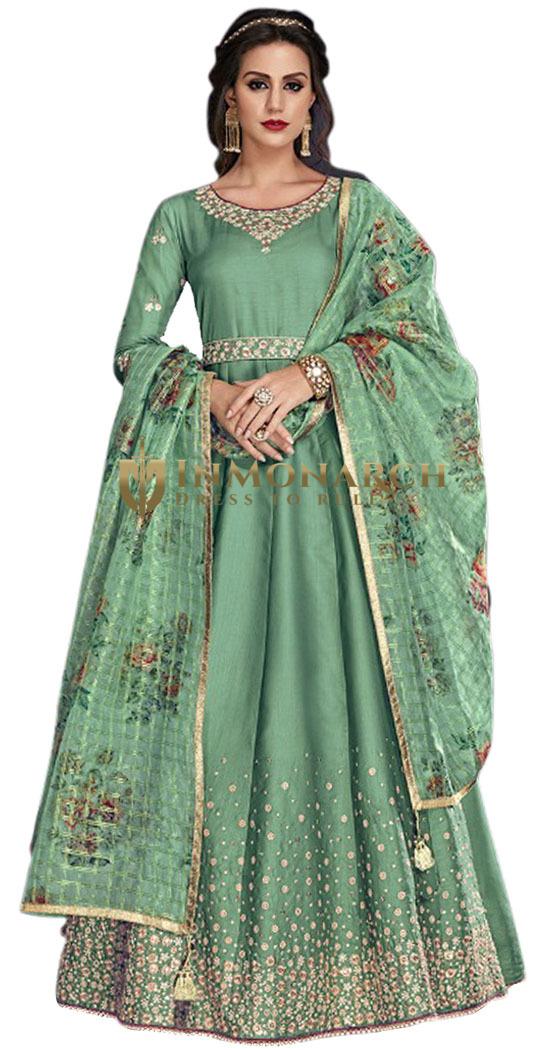 Green Embroidered Party Wear Salwar Kameez