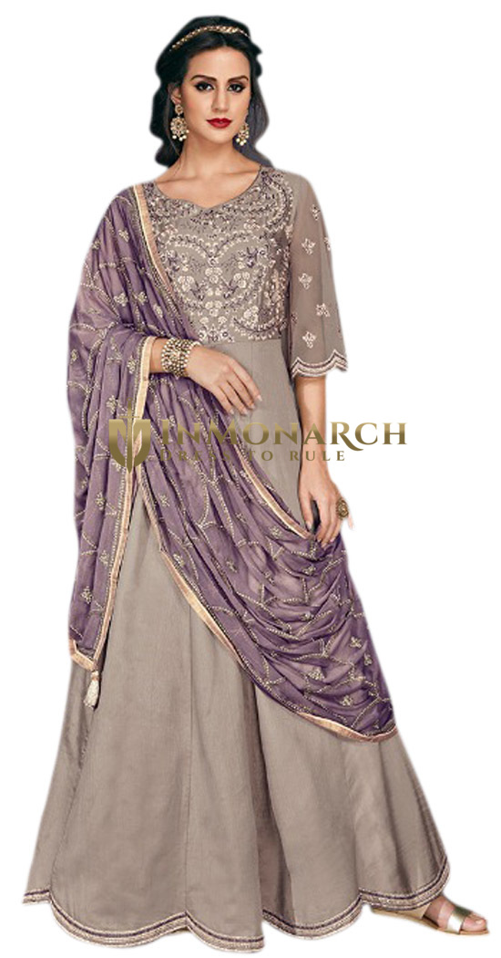 Grey Partywear Salwar Kameez