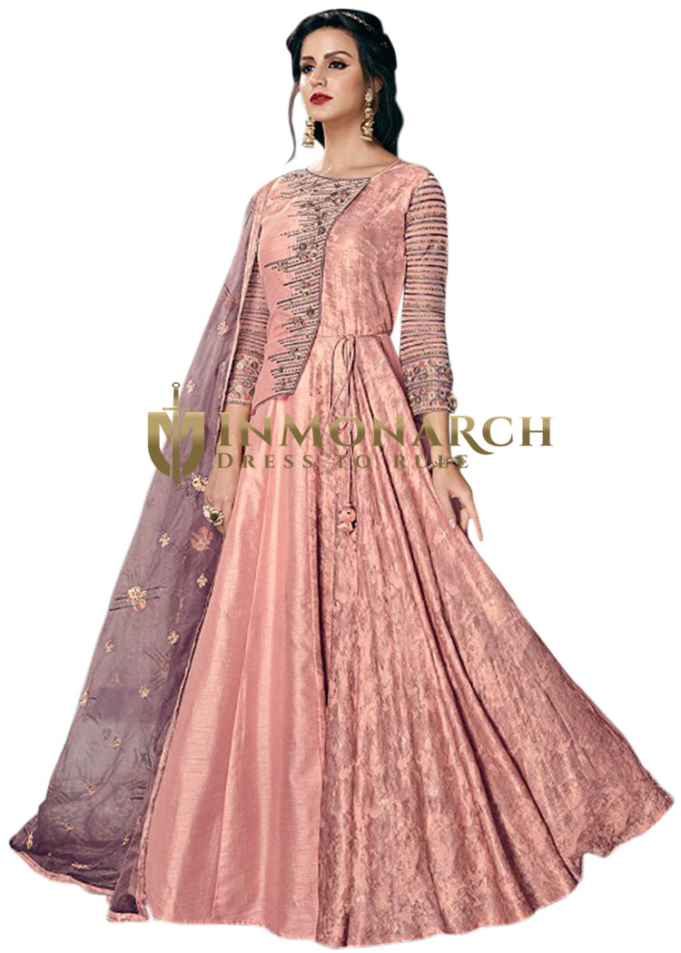 Pink Tussar silk Embroidered Party wear Suit