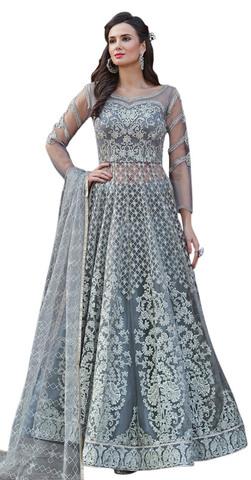 Grey Embroidered Net Salwar Kameez