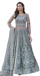 Grey Embroidered Net Salwar Kameez