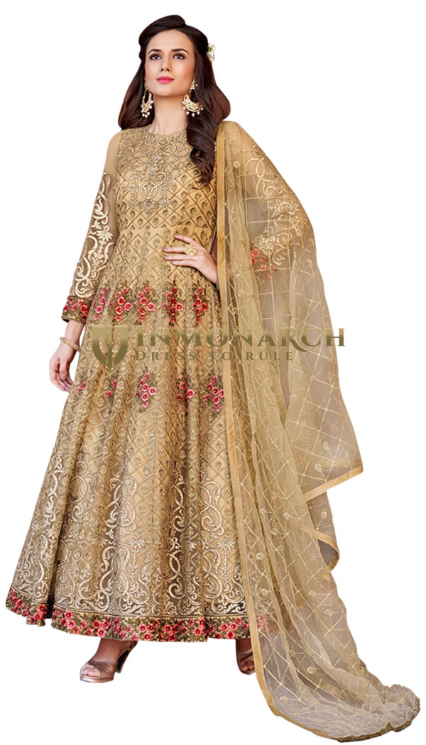 Designer partywear Golden Net Anarkali Suit