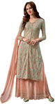 Heavy Net Sky Blue & Peach Salwar Kameez