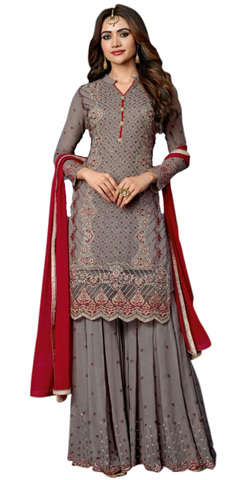 Eye Catching Grey Embroidered Georgette Designer Suit