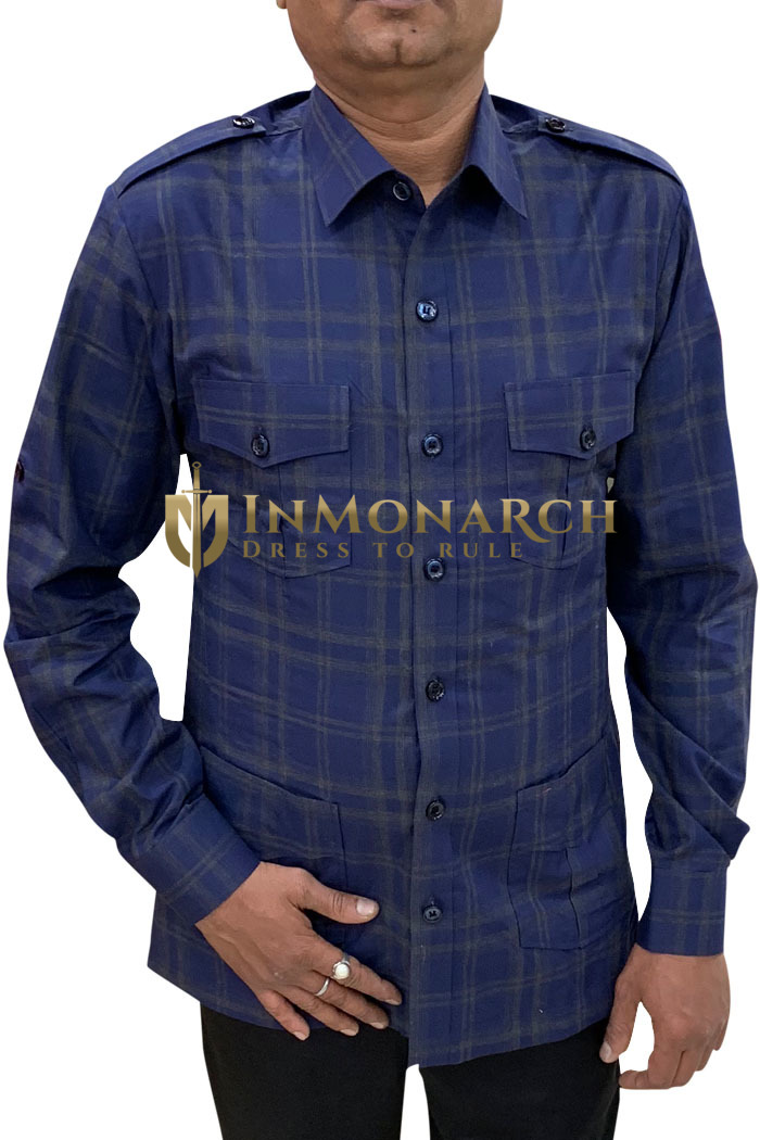 Boy Scout Uniform navy-blue checks Safari Shirt Mens Hunting Shirts full Sleeves