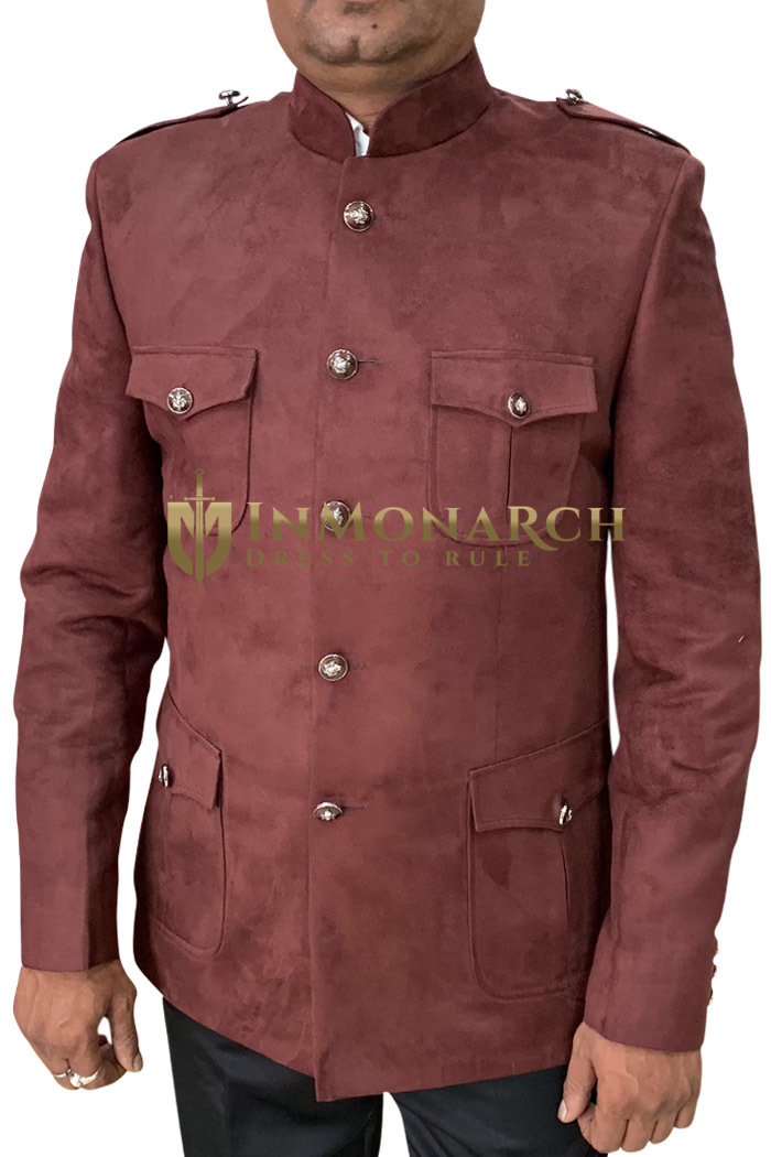 Burgundy Mens Suede Nehru Jacket Safari Style