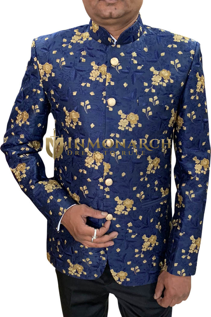 Navy Blue Indian Wedding Jodhpuri Suit decorated with floral motifs