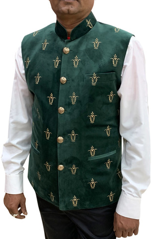 Mens Green Indian jacket Nehru Waistcoat Embroidery Work