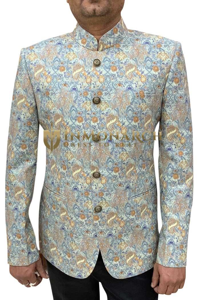 Hawaaian Paisley Printed Mens Jodhpuri Mandarin Handmade Suit