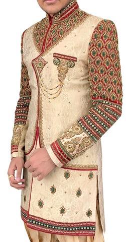 Mens Beige Indo Western Sherwani Angrakha Style