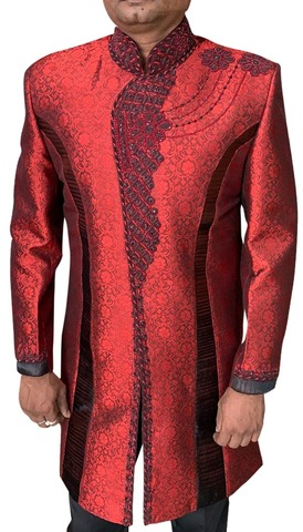 Men's red Indo-Western Hand Embroidery Sherwani for Wedding
