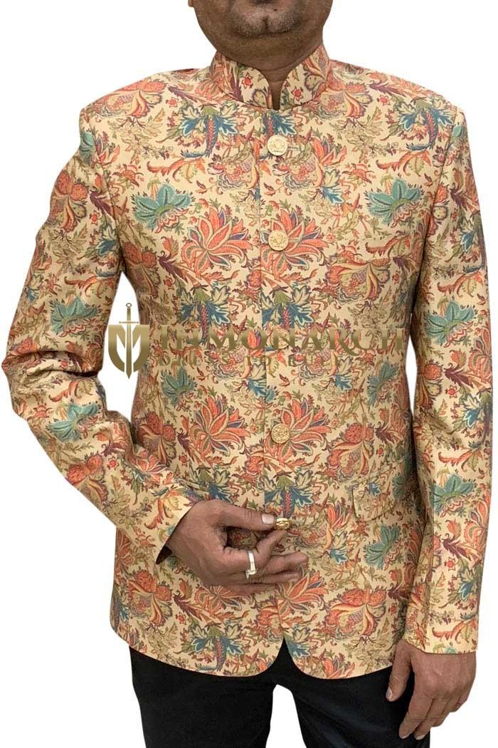 Color Floral Printed Mens 2 Flap Pocket Mandarin Handmade Suit