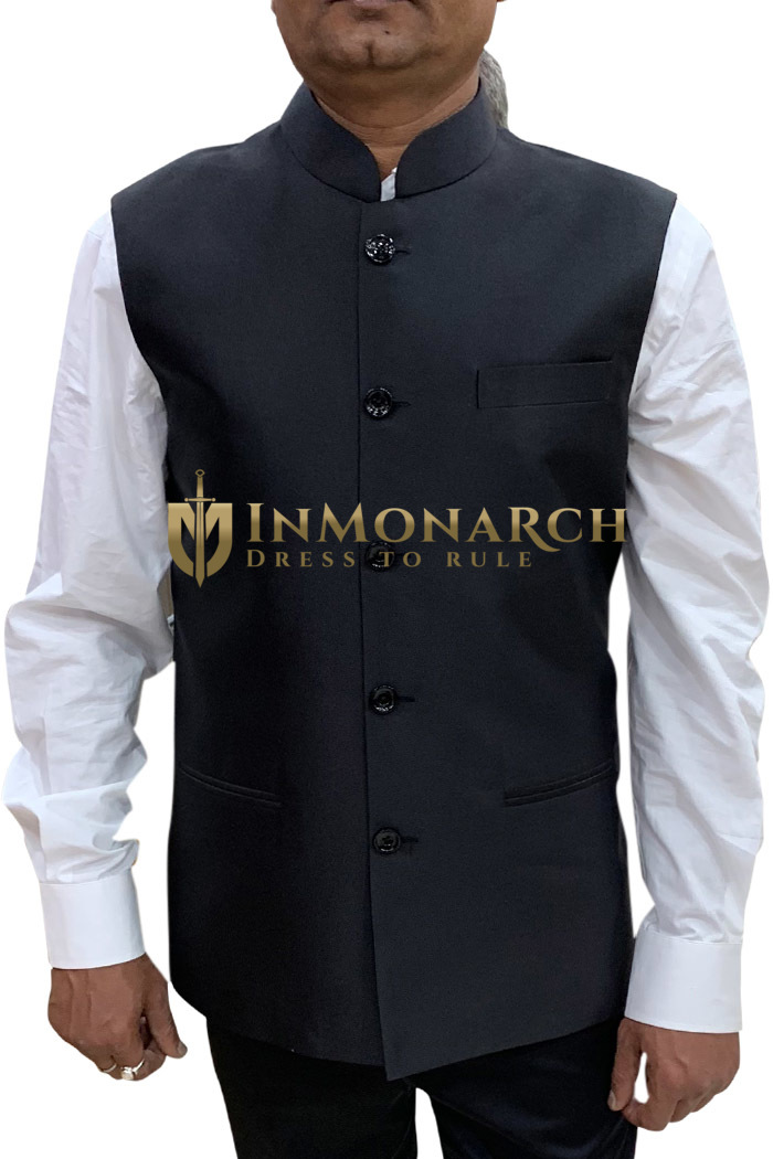 Mens jacket Black Nehru Vest for Reception