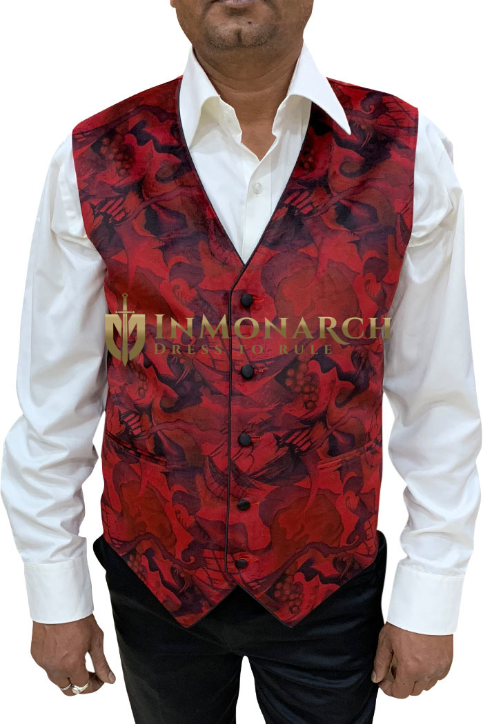 Mens Red Designer Velvet Vest V Neck
