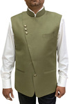 Olive Mens Fashionable Partywear Nehru Vest Indian Waistcoat