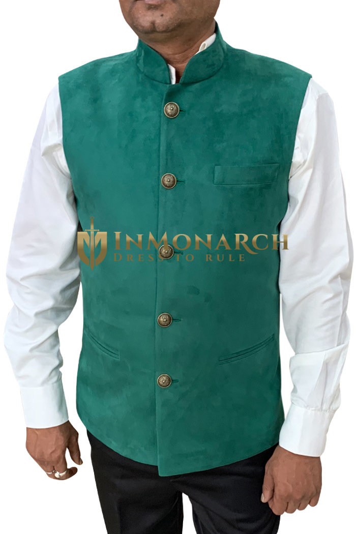 Mens Green Indian jacket Nehru Waistcoat
