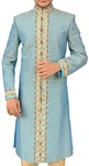 Mens Indian Ethnic Wear Sky Blue Wedding Sherwani for Groom