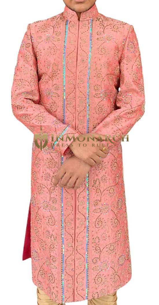 Mens Pink Indian Wedding Sherwani for Groom