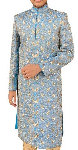 Mens Sky Blue 2 Pc Heavy Designer Work Groom Sherwani