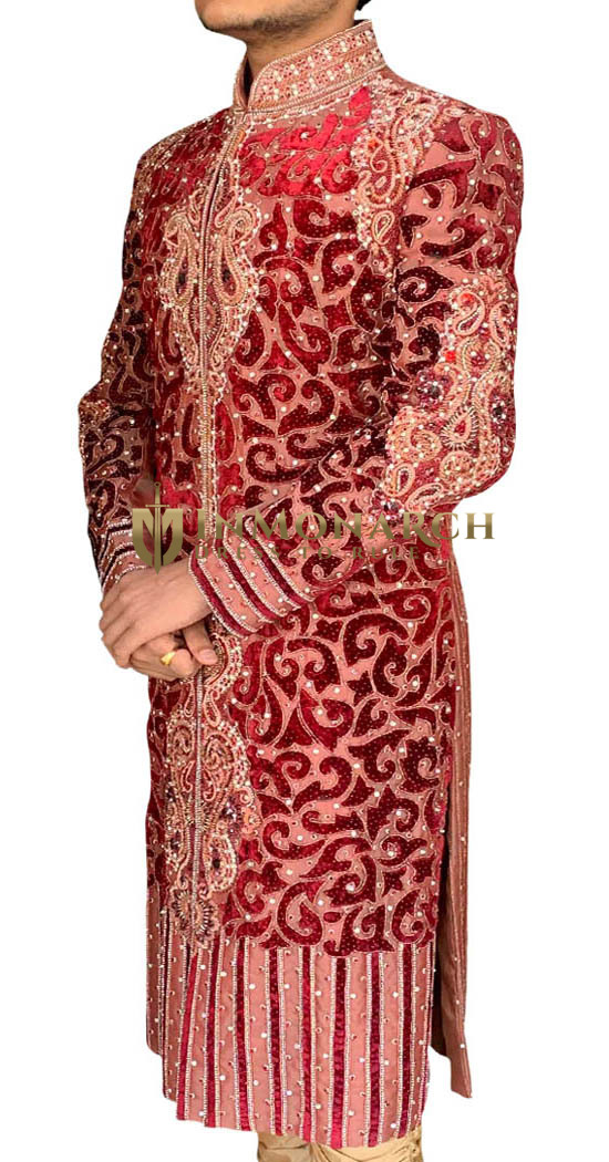 Mens Indian Wedding Men Maroon Wedding Sherwani Designer Cut Work