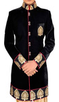 Mens Wedding Sherwani Black Indo-western for Men