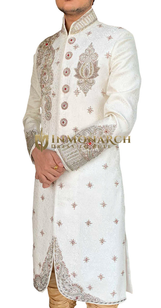 Mens White Traditional Groom Sherwani