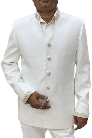 Mens White Linen Jodhpuri Suit V Neck