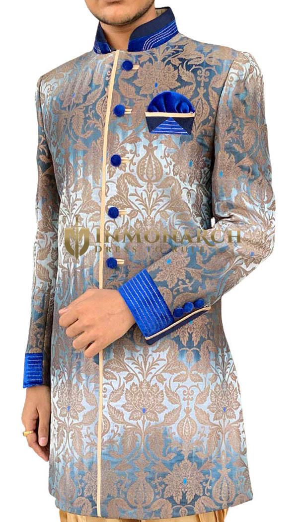 Mens Sky Blue Sherwani Indo-western Partywear Sherwani