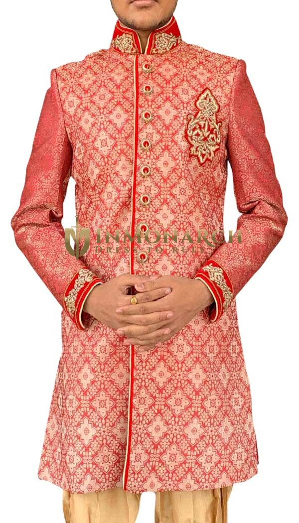 Mens Red Indowestern Superb Designer Sherwani