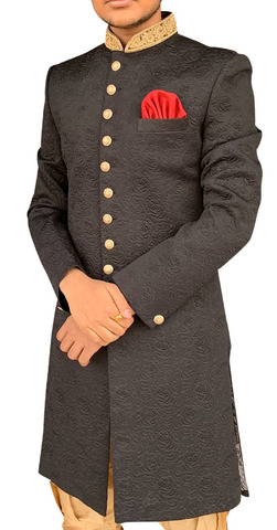 Sherwani for Men Wedding Black Indowestern Sherwani for Groom