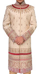 Mens Beige Groom Sherwani Brocade Traditional