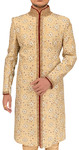 Mens Beige Indowestern Sherwani Embroidery Design