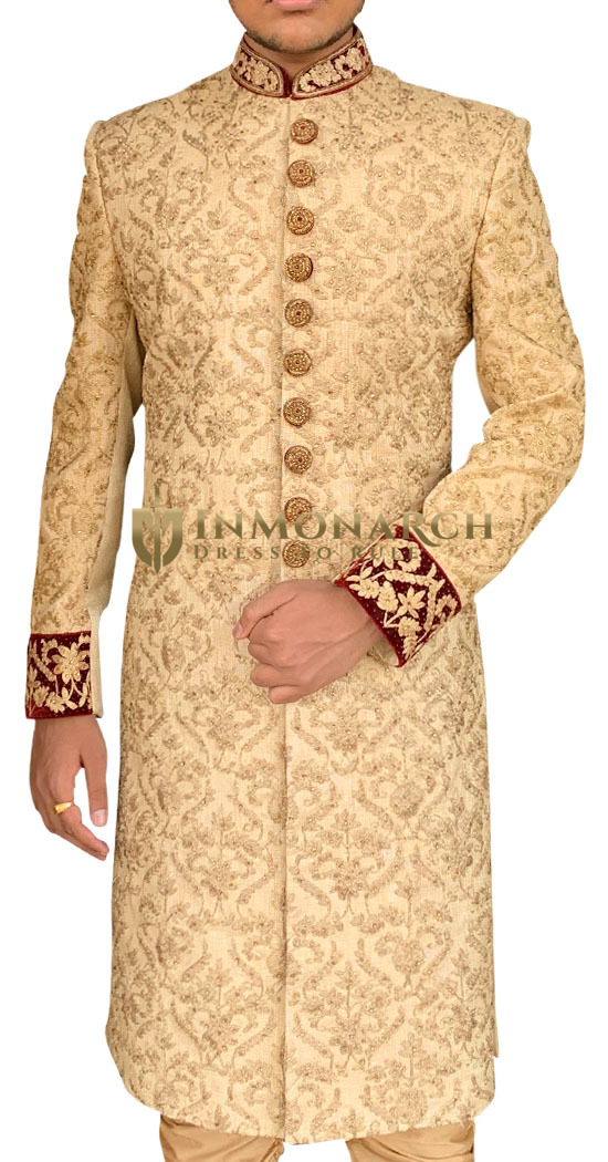 Beige Groom Indian Wedding Sherwani