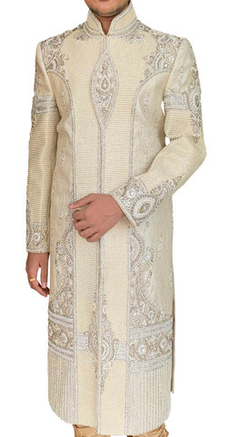 Mens Cream Wedding Sherwani with Heavy Pearl Work