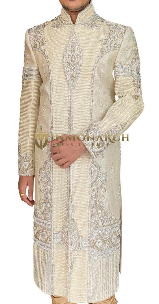 Mens Cream Wedding Sherwani with Heavy Pearl Work